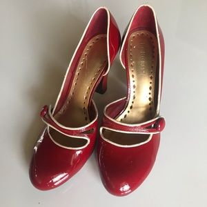 Red patent leather heels by BCBGirls